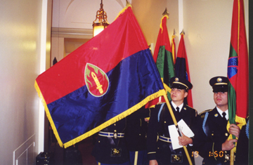 63rd Infantry Division Flag after the Ceremony