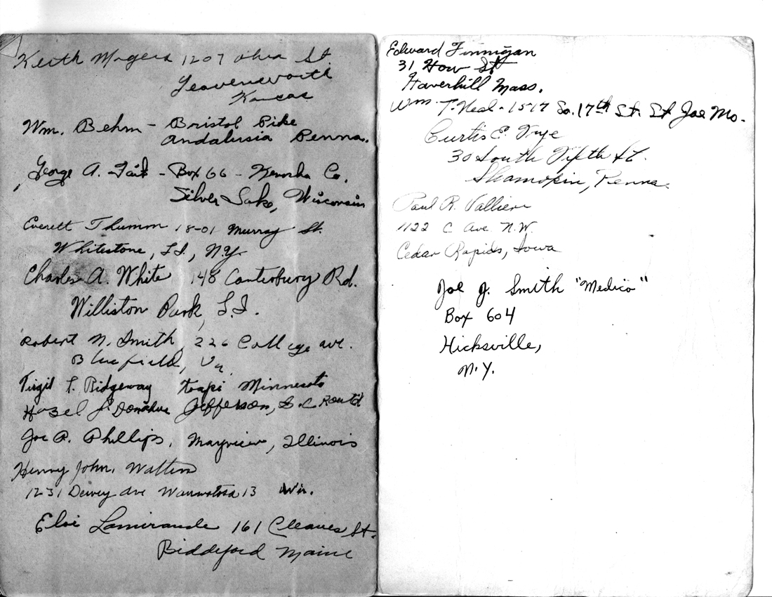 Address pages - Pvt Porter M/255th Inf