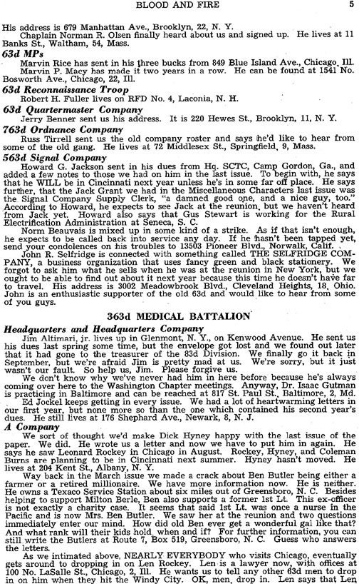 Blood and Fire Publication Page 5, January 1951