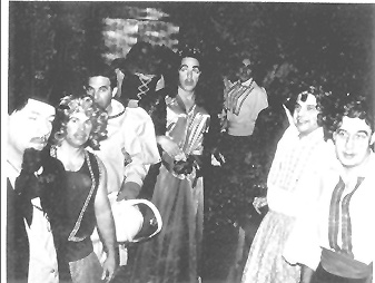 WWII cast of Carmen readying themselves for the 1985 production