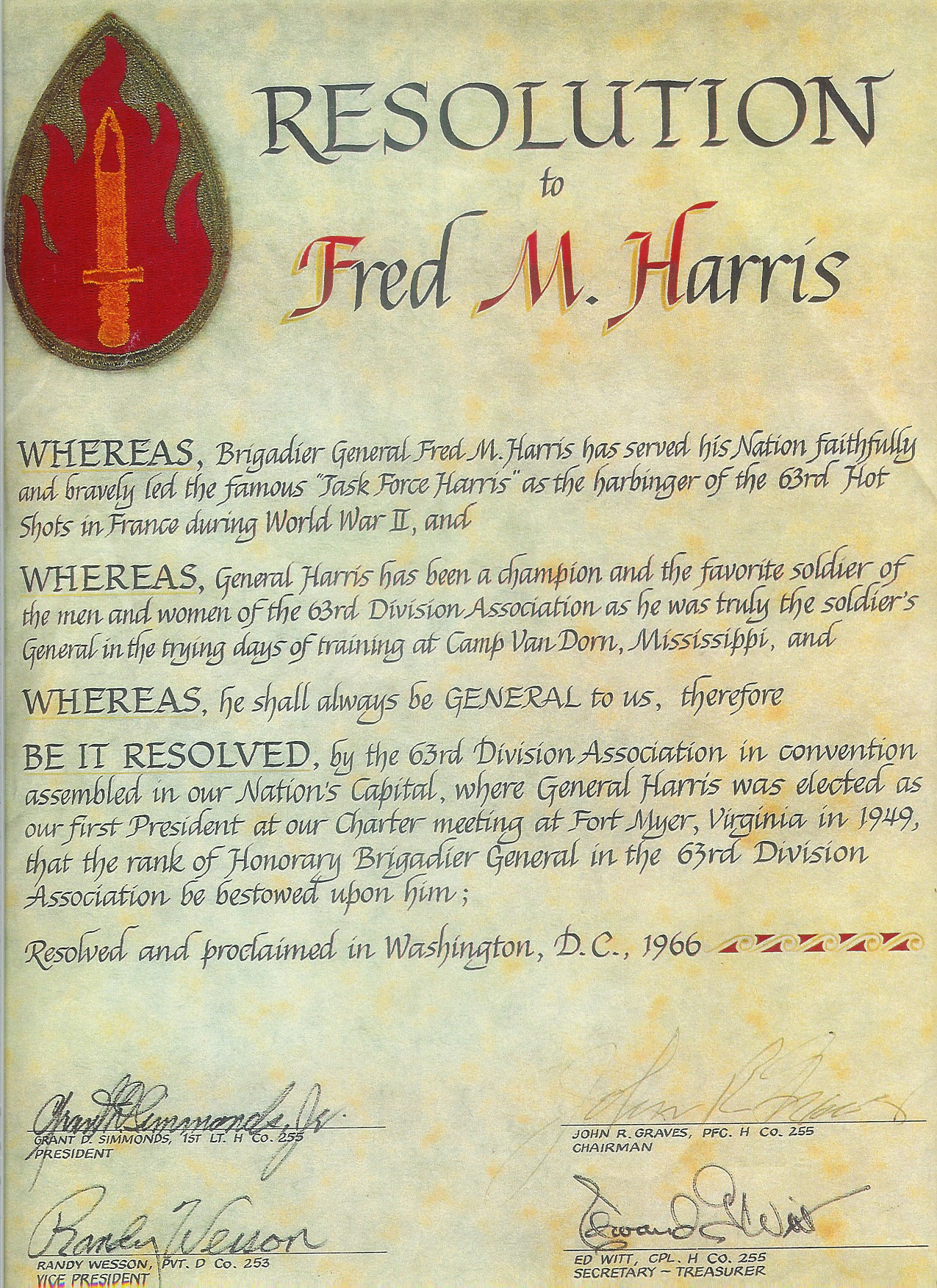 Proclamation relating to BG Harris
