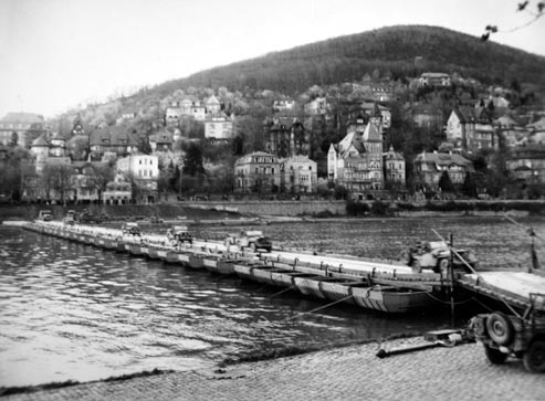 Pontoon bridge built across the Neckar River at Heidelberg, Germany