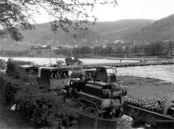 Convoy preparing to cross the Neckar River at Heidelberg, Germany
