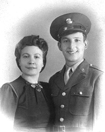T/5 Albert Carchio and mother, Med Det 254th Inf Regt