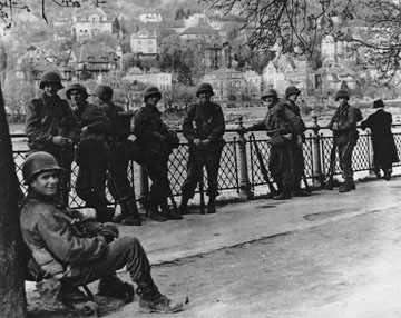 US Troops along the Rhein Neckar River- 1945