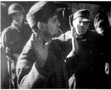 Hooven, A/253d Infantry with German POWs-1945