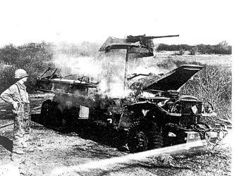 253d Inf vehicle destroyed by enemy fire