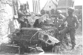 253d vehicle destroyed by enemy fire Stein, Germany Apr 45