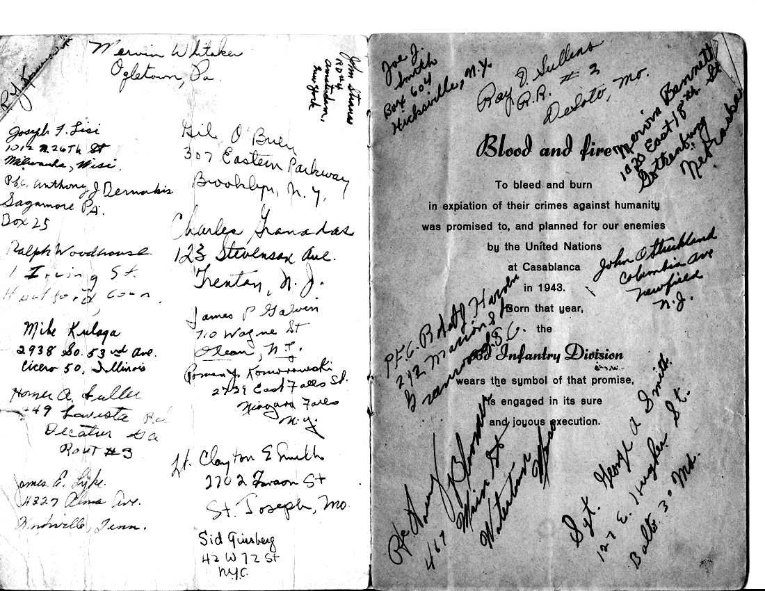 Signature Pages from Pvt Porter M/255th Inf