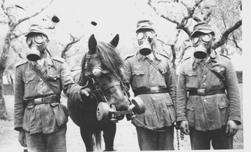 German troops and horse with gas masks