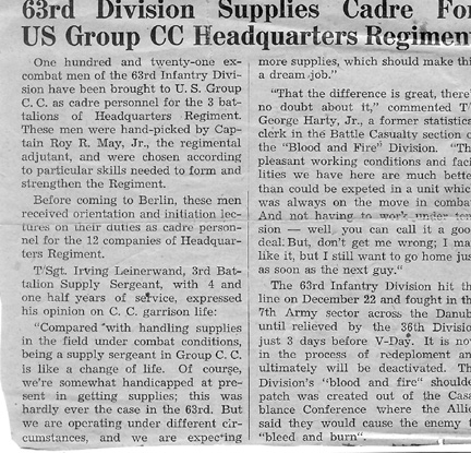 Stars and Stripes article- Germany 1945