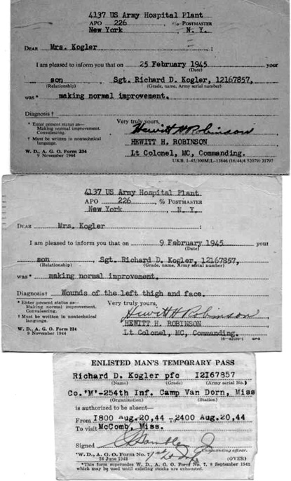 Status Reports and Passes- Kogler M/254th Inf