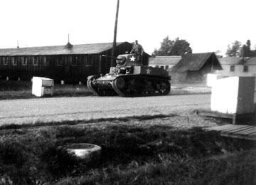 Tank in company area, Cp Van Dorn, MS 1944