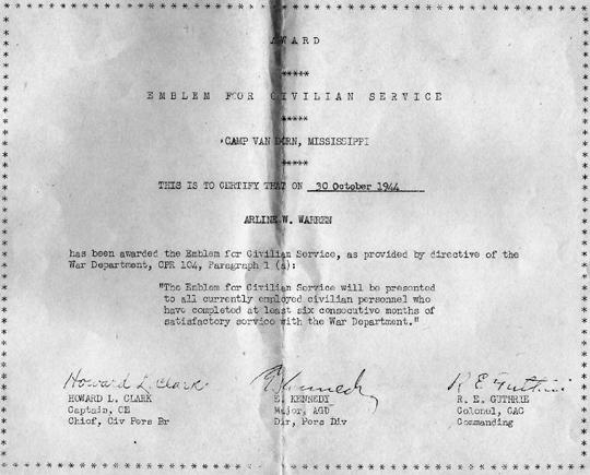 Civilian Employee certificate Cp Van Dorn, MS