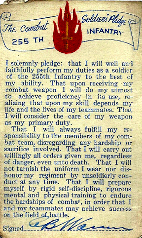 Pledge Card- 255th Inf Regt- Cp Van Dorn, MS
