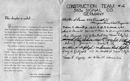 Booklet Page of S/Sgt Waters 563d Signal Company- Germany 1945