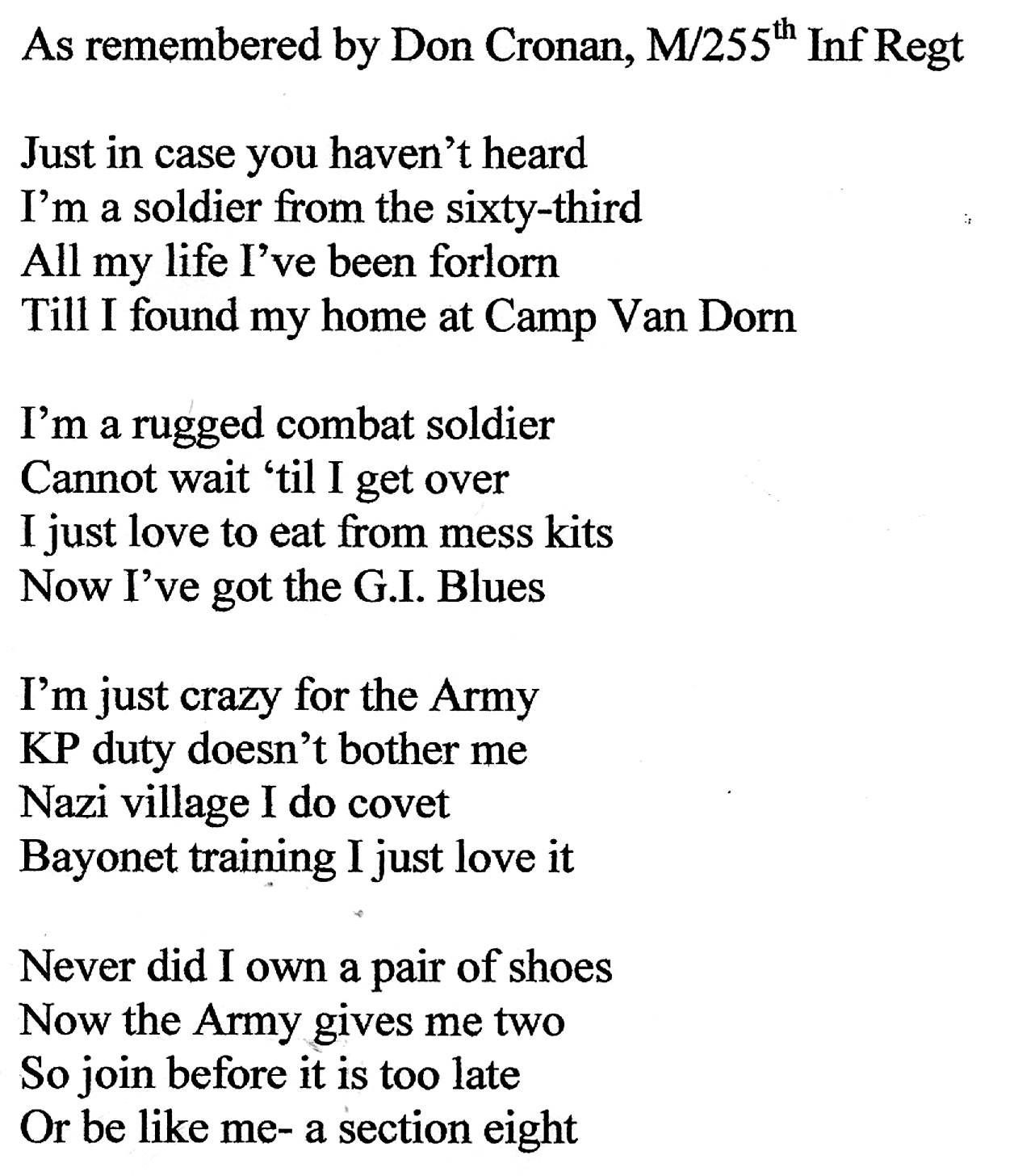 Words to the 63rd Inf Div song