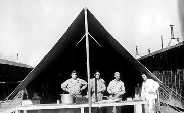 Mess tent B/718th FA Bn Cp Van Dorn, MS 1944