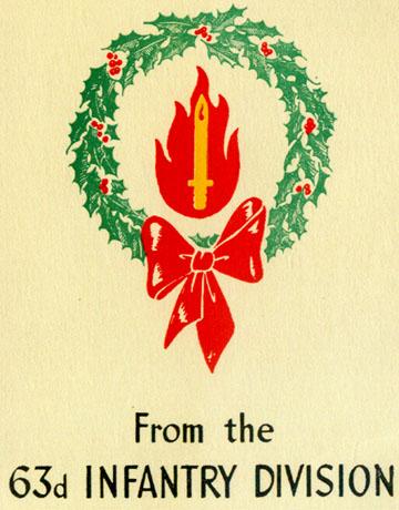 63rd Inf Div Christmas Card 1943, Cp Van Dorn, MS