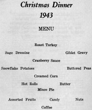 Christmas Dinner Menu B/718th FA Bn Cp Van Dorn, MS 1943