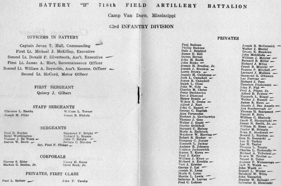 Roster B/718th FA Bn Christmas Day, 1943 Cp Van Dorn, MS