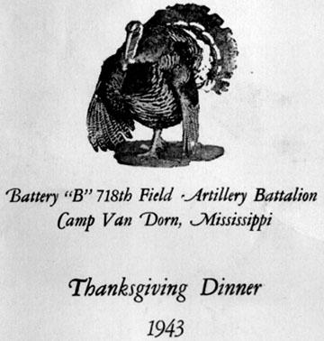 Thanksgiving Program B/718th FA Bn-1943 Cp Van Dorn, MS