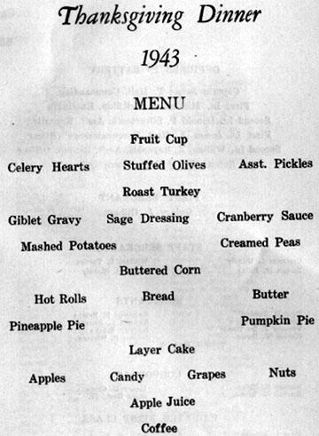Menu for Thanksgiving Dinner B/718th FA Bn 1943 Cp Van Dorn, MS