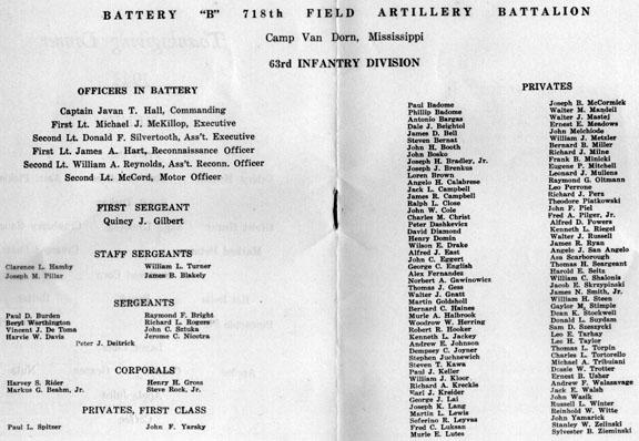 Roster B/718th FA Bn Thanksgiving Day 1943 Cp Van Dorn, MS