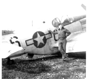 Lt Allen and P51 aircraft, Boblingen, Germany 1945