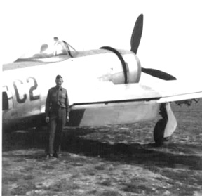 Lt Allen and P47 aircraft, Weisbaden, Germany 1945