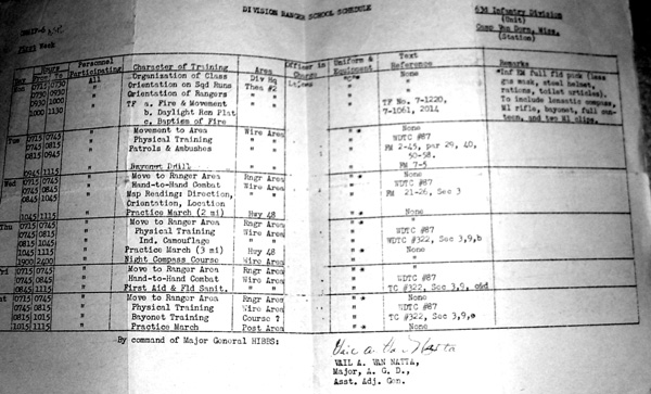 Ranger Training Schedule, Cp Van Dorn, MS 1943