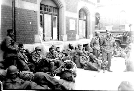 Hq 863d FA Bn waiting to move- Germany 1945