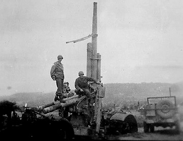 Hq 863d FA Bn and Destroyed German 88- 1945