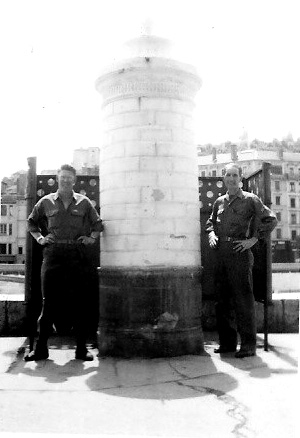 Crosser and friend Hq 863d FA Bn in Lyons France-1945
