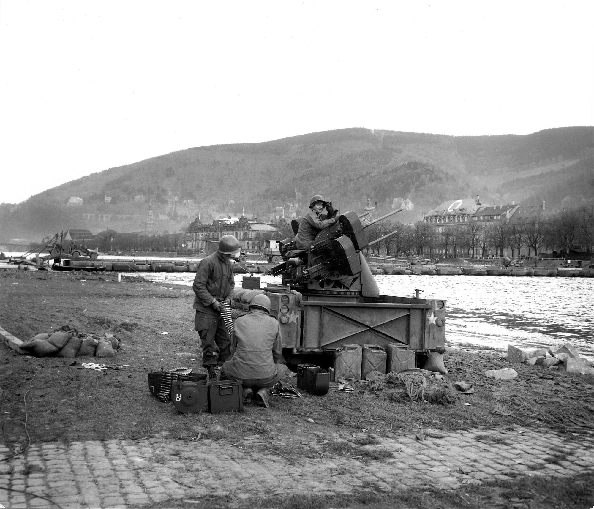 AA  unit protects the pontoon bridge over the Neckar River- Heidelberg, Germany