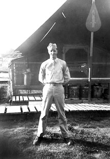 Kinney at the H/253d Inf Mess Tent, Cp Van Dorn, MS 1944