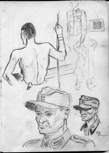 Sketch by T/Sgt Yakas F/254th Inf while in combat 1945