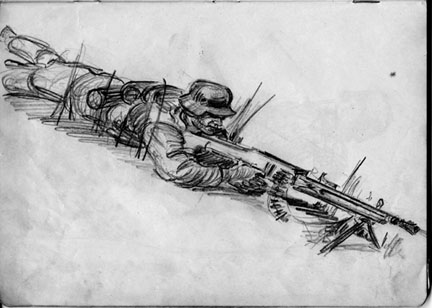 Sketch by T/Sgt Yakas F 254th Infantry while in combat 1945