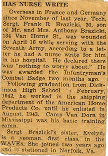 Newspaper article concerning T/Sgt Brazicki's wounds, I/255th Inf
