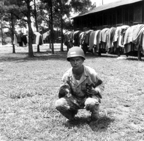Gomiela with company cats, I Company 255th Infantry Regt Cp Van Dorn, MS 1944