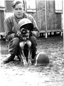 McMillan and mascot, I Company 255th Infantry Regiment Cp Van Dorn, MS 1944