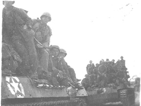 Infantry on tanks 255th Inf