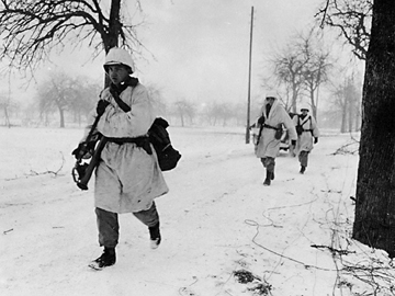 Third Division Troops on the move from Ostheim to Houssen, France Jan 45