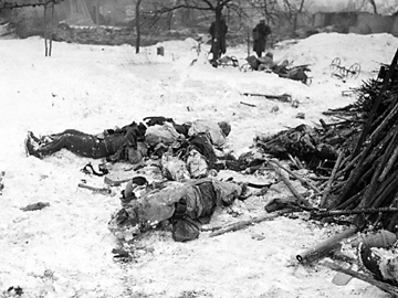 View of dead following the battle for Jebsheim, France Jan 45