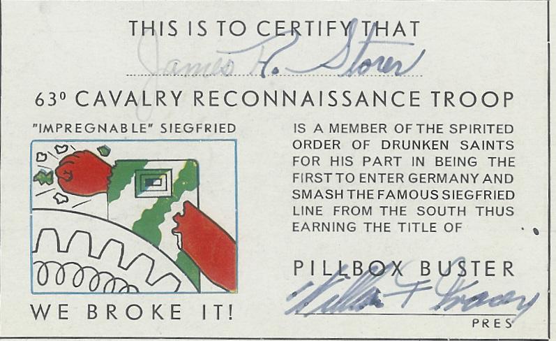 Membership card 63d Recon Trp June 1945 Germany