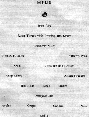 Menu page, Thanksgiving Day A/861st FA Bn Cp Van Dorn, MS