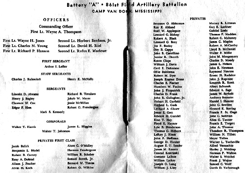 Battery roster Thanksgiving Day 1943 A/861st FA