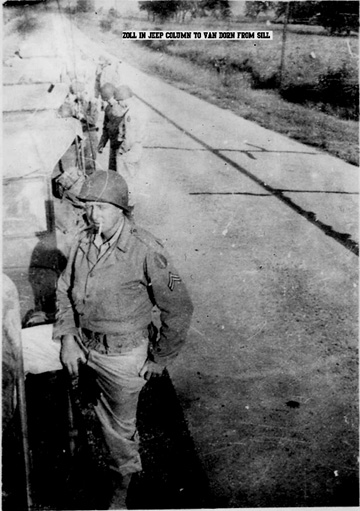 Cpl Zoll, B Btry 863d FA Bn on road 1943