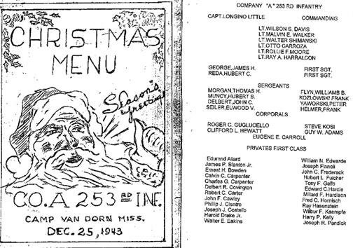 Christmas Menu 1943 A/253d Infantry Cp Van Dorn, MS