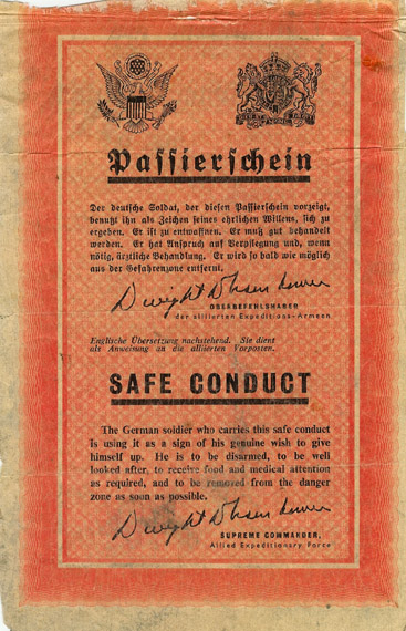 Safe Conduct Pass for German Soldiers